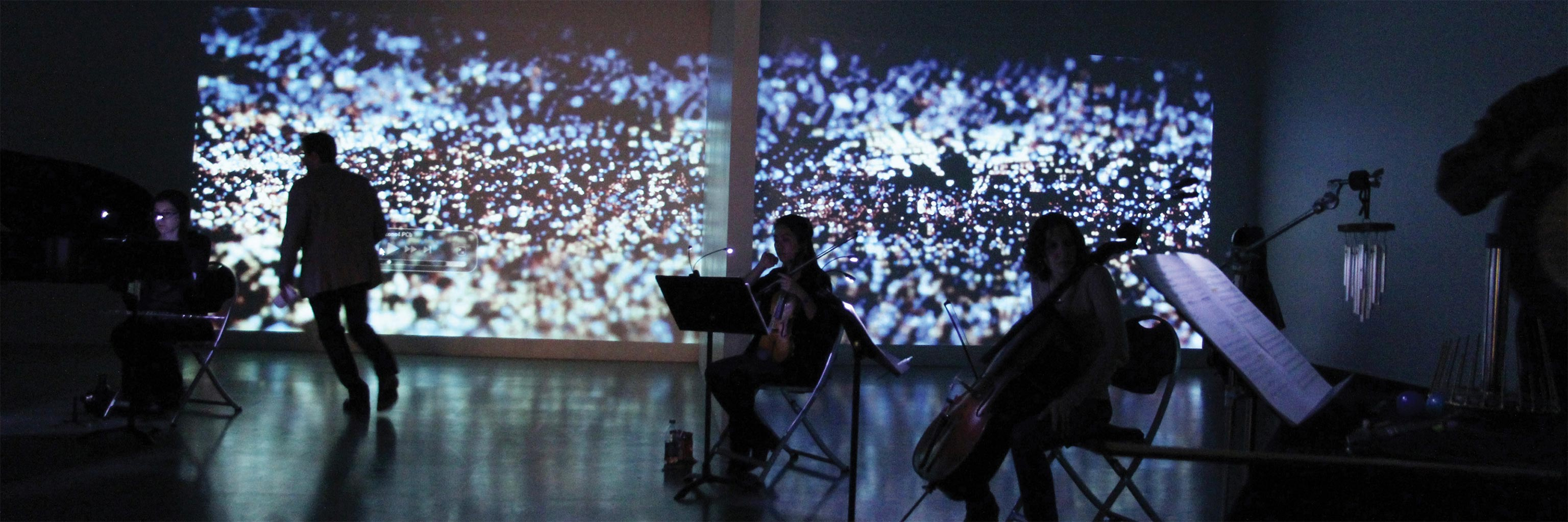 violin performance with screen projection